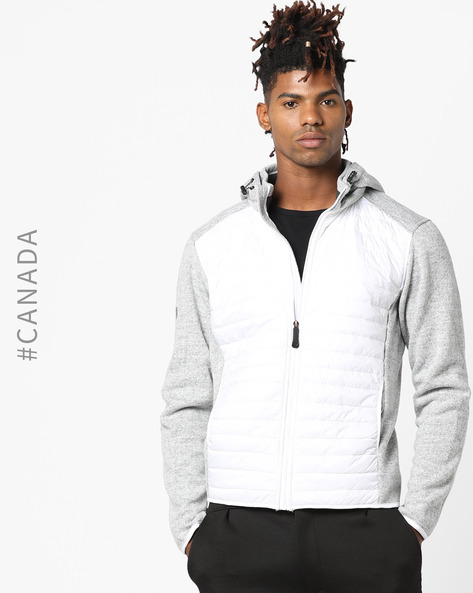 Hooded Quilted Jacket By Point Zero ( White )