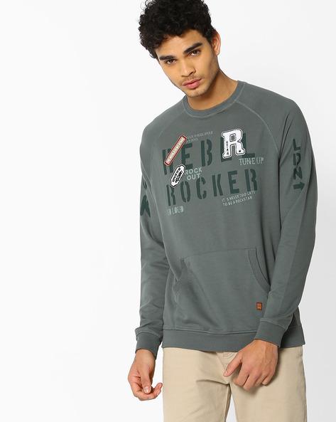 Crew-Neck Sweatshirt With Raglan Sleeves By DNMX ( Olive )