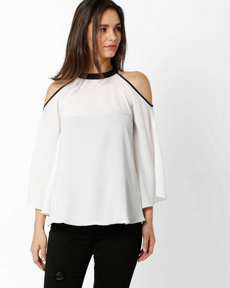High-Neck Cold-Shoulder Top By And ( White )