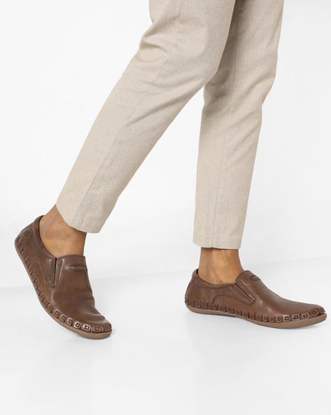 Slip-On Shoes With Elasticated Gussets By BUCKAROO ( Brown )