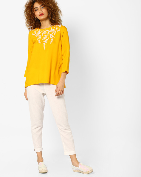 Flared Top With Floral Embroidery By And ( Yellow )