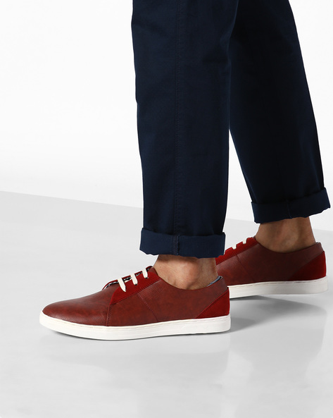 N9-Treated Faux Leather Sneakers By AJIO ( Bordo )