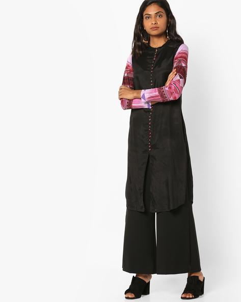 Straight Kurta With Printed Sleeves By Rain & Rainbow ( Black )