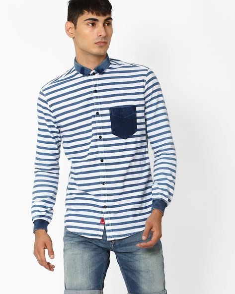Line Striped Slim Shirt By Killer ( Navy )