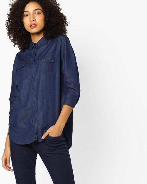 High-Low Denim Top With Pockets By AJIO ( Blue )