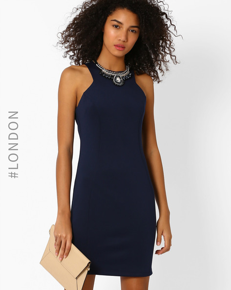 Bodycon Dress With Detachable Neckpiece By Zibi London ( Navyblue )