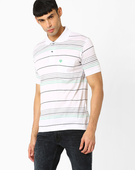 Striped Polo T-shirt By DUKE ( White )