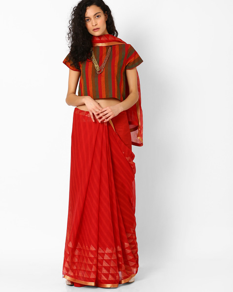 Self-Striped Saree With Zari Border By Pihu ( Red )