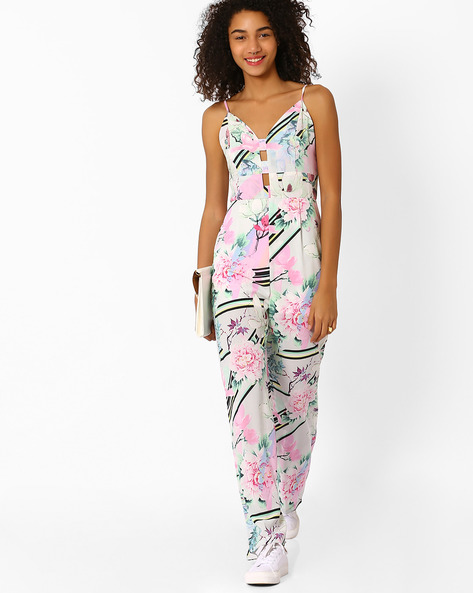 Floral Print Strappy Jumpsuit By RIDRESS ( Multi )