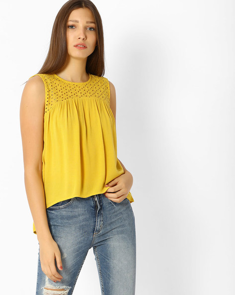 Pleated Top With Lace Panel By Only ( Mustard )