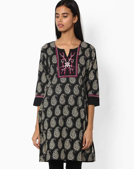 Printed Cotton Straight Kurta By Jiyaa ( Black )