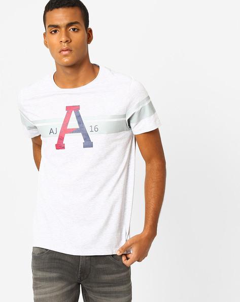 Typographic Print Slim Fit T-shirt By AJIO ( Greymelange )
