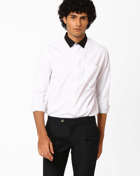 Slim Dobby Shirt With Contrast Collar By British Club ( White )