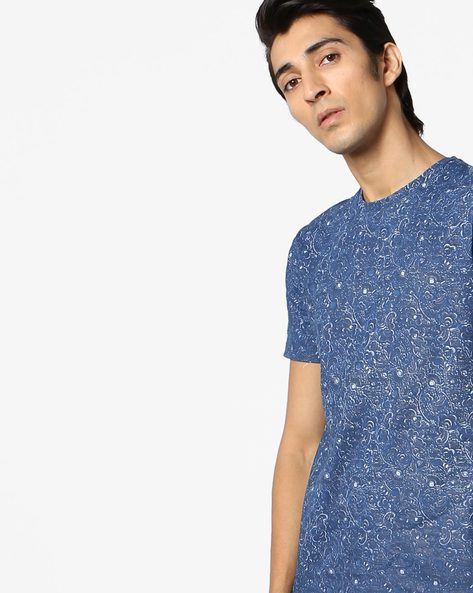 All-Over Floral Print Slim T-shirt By AJIO ( Blue )