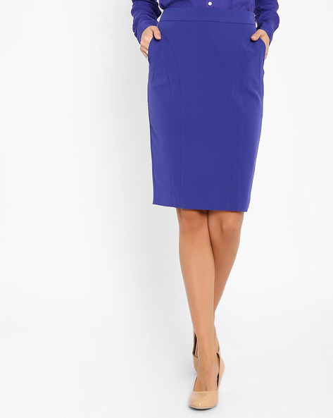 Pencil Skirt With Pockets By AJIO ( Purple )