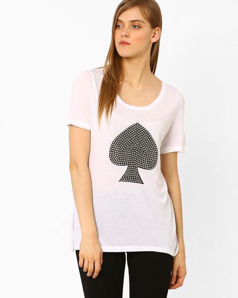 Printed Crew-Neck Top By Vero Moda ( White )
