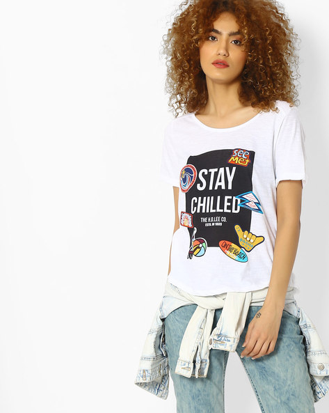 Graphic Print T-shirt With Pleated Back By Lee ( White )