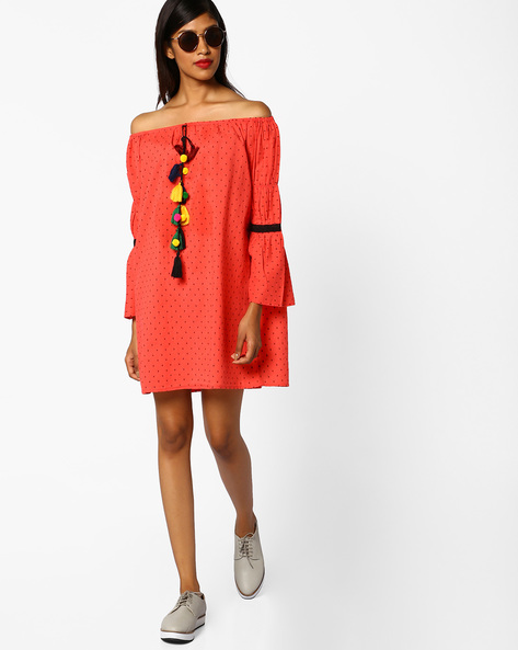 Printed Off-Shoulder Dress With Tassel Tie-Up By AJIO ( Coral )