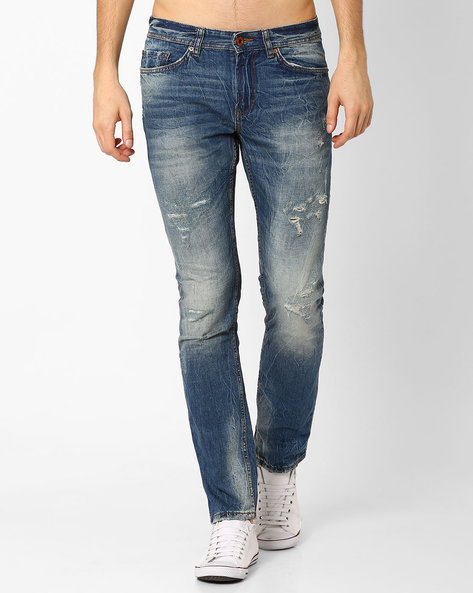 Mid-Washed Distressed Jeans By Celio ( Dkblue )