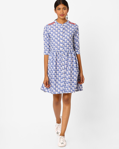 Buy blue white global desi printed shirt dress with for Buy white dress shirt