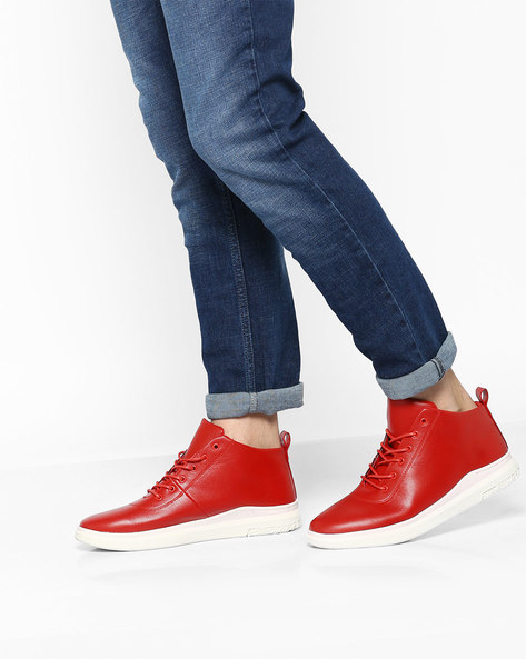 Mid-Top Lace-Up Sneakers By AJIO ( Darkred )