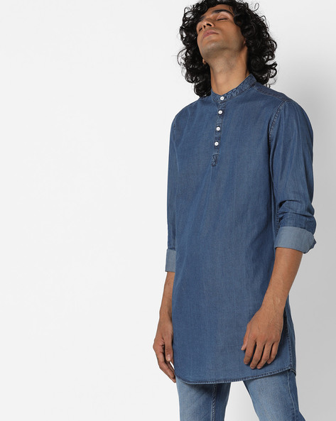 Cotton Longline Shirt With Mandarin Collar By Blue Saint ( Blue )