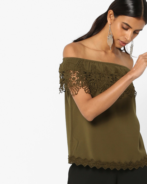 Off-Shoulder Top With Lace Insets By Vero Moda ( Olive )