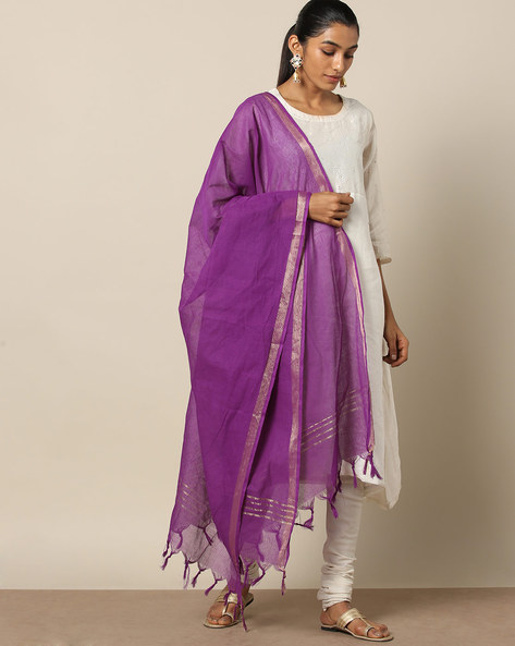 Missing Checked Cotton Dupatta With Zari Border By Indie Picks ( Purple )