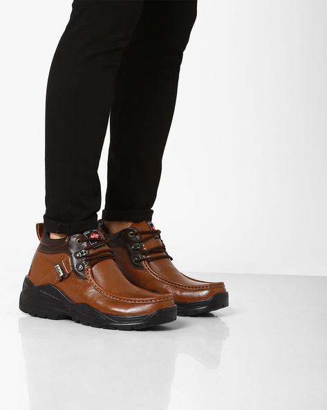 Mid-Top Leather Formal Shoes By Lee Cooper ( Tan )