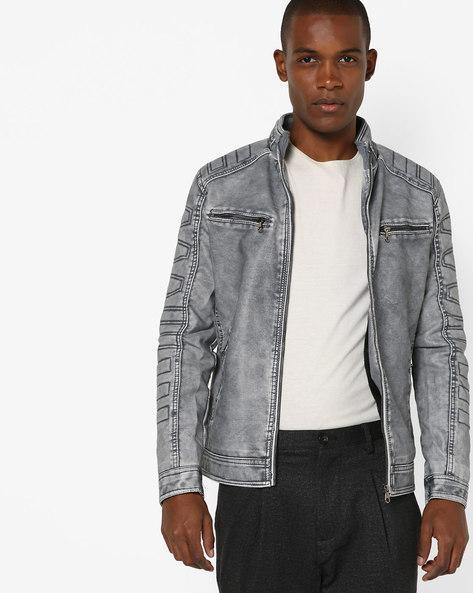 Slim Fit Open-Front Biker Jacket By The Indian Garage Co ( Blue )