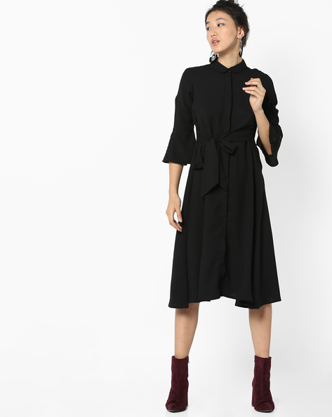 Shirt Dress With Waist Tie-Up By AJIO ( Black )