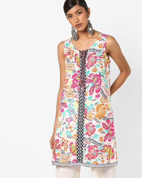Floral Print Sleeveless Tunic By FUSION ( Offwhite )
