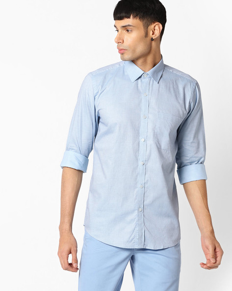 Slim Fit Shirt With Patch Pocket By VIMAL APPARELS ( Aqua ) - 438042920001