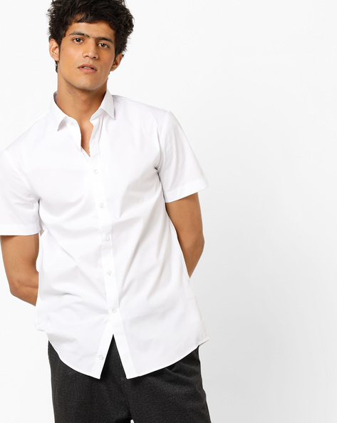 Slim Fit Shirt With Curved Hem By Celio ( White )