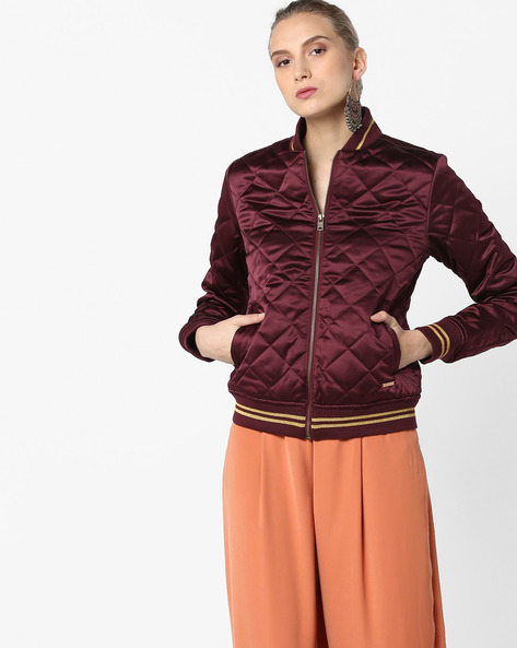 Quilted Jacket With Front Zipper By Aeropostale ( Red )