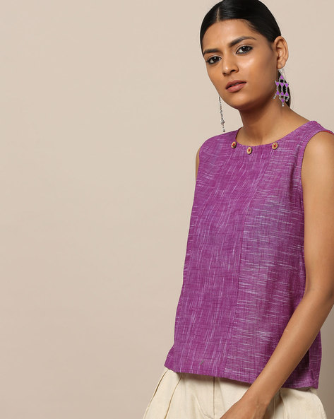 Sleeveless South Cotton Top By Indie Picks ( Purple )