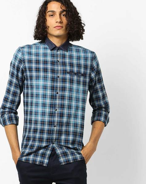 Checked Cotton Shirt With Welt Pocket By AJIO ( Blue )