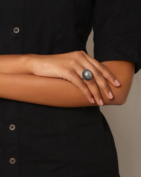 Oxidised Metal Statement Ring By Indie Picks ( Silver )