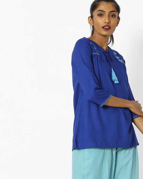 Top With Keyhole Neckline By Khimsariya ( Blue )