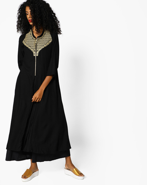 Embroidered Kurta With Inverted Front Pleat By PE IW Evening ( Black )