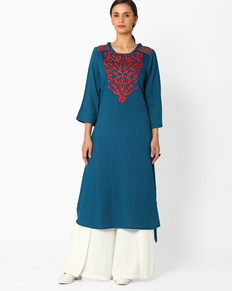 Straight Kurta With Embroidery By Global Desi ( Blue )