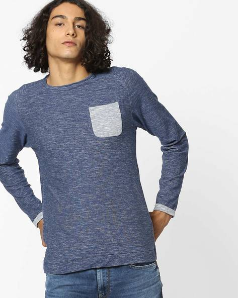 Heathered T-shirt With Contrast Patch Pocket By VOI JEANS ( Blue )