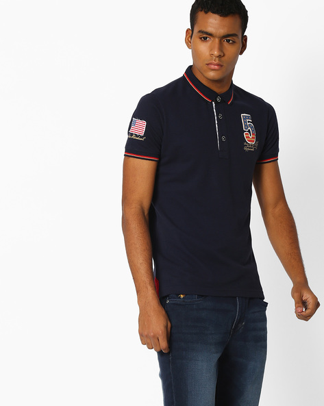 Graphic Print Slim Polo T-shirt By DUKE ( Navy )