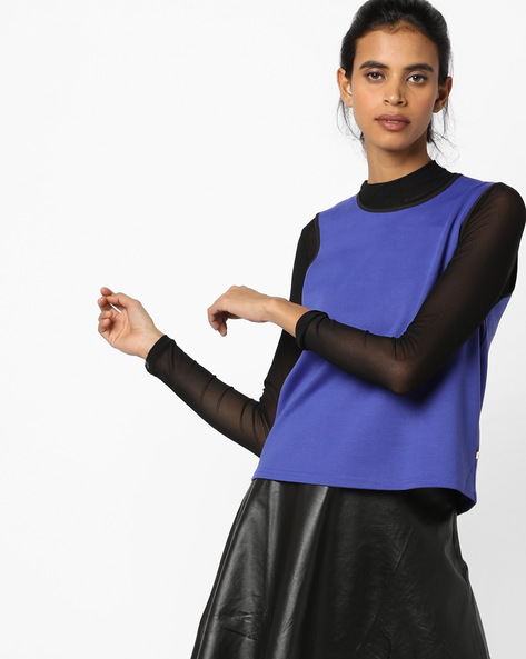 Sleeveless Top With Cut-Outs By UNITED COLORS OF BENETTON ( Blue )