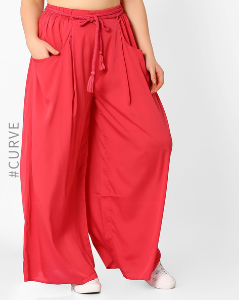 Palazzo Pants With Tie-Up By Oxolloxo ( Pink )