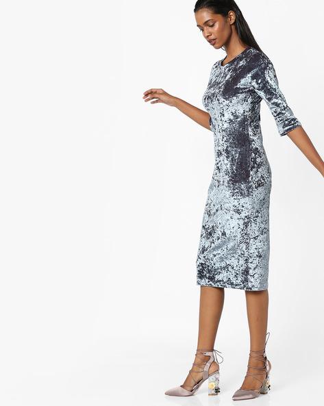 Velvet Bodycon Midi Dress By Sassafras ( Grey )