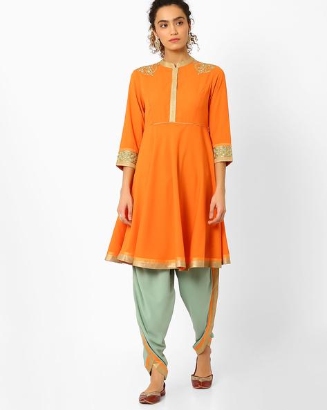 Anarkali Kurta With Dhoti Pants By AJIO ( Orange )