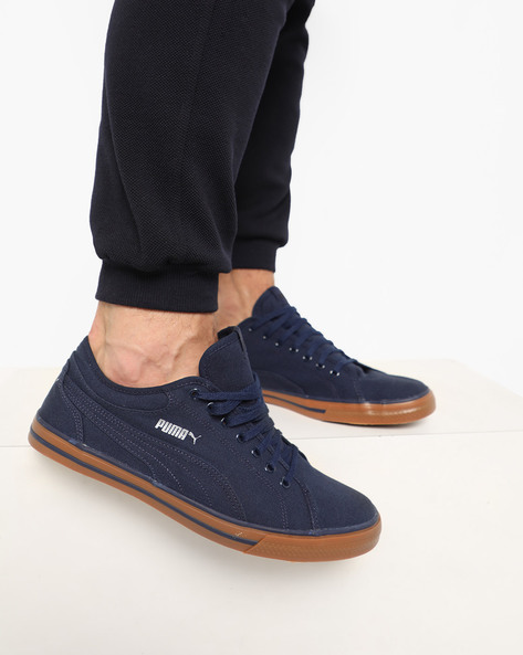 Low-Top Lace-Up Sneakers By Puma ( Navyblue )