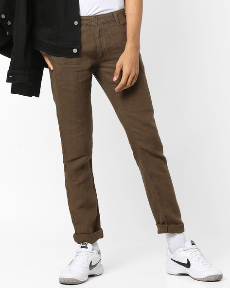 Mid-Rise Flat-Front Chinos By Celio ( Maroon )