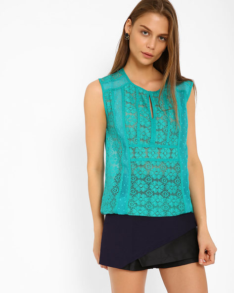 Sleeveless Lace Top By Oxolloxo ( Green )